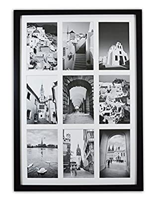"Golden State Art, 13.6x19.7 Matted Black Wood 9-Opening for 4 x 6"" Collage Picture Frame"