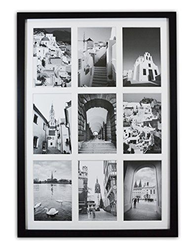 Golden State Art, 13.6x19.7 Black Photo Wood Collage Frame with REAL GLASS and White Displays (9) 4x6 pictures (Photo Art Postcard)