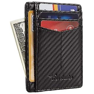 Travelambo RFID Front Pocket Minimalist Slim Wallet Genuine Leather Small Size (01 carbon fiber texture black)