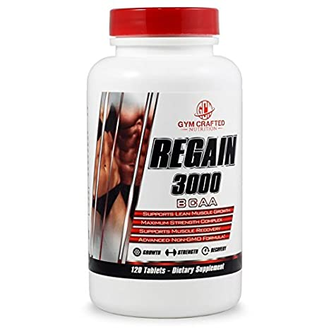 Gym Crafted Nutrition BCAA Amino Acids, 3000mg, 120 BCAA Tablets, Zero Calorie, BCAA For Women and For Men, Natural and Organic BCAA Pills, Train and Recover Post Workout