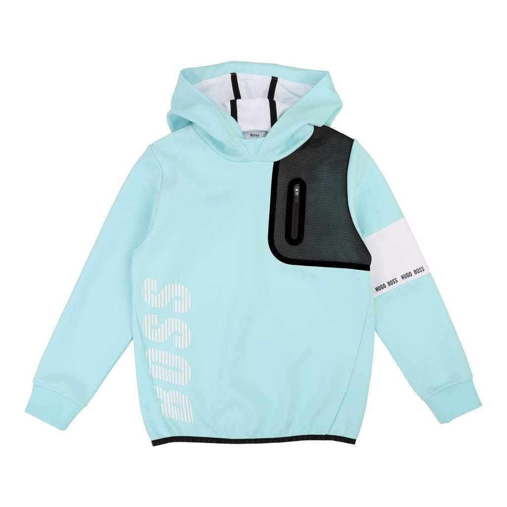 Hugo Boss Kids Turquoise Hooded Sweatshirt
