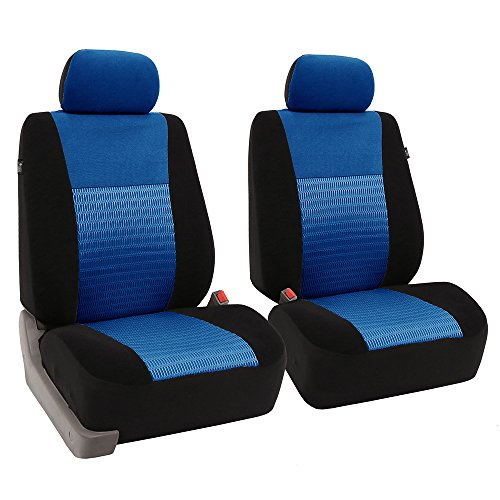 - FH GROUP FH-FB060102 Trendy Elegance Pair Bucket Seat Covers, (Airbag compatible) Blue / Black Color-Fit Most Car, Truck, Suv, or Van