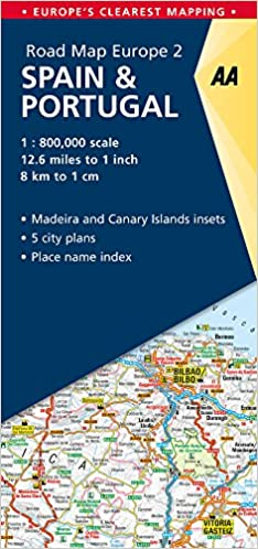 Map Of Spain Portugal.Road Map Spain Portugal Road Map Europe Aa Publishing