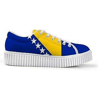 Owaheson Platform Lace up Sneaker Casual Chunky Walking Shoe Women Bosnia and Herzegovina Flag