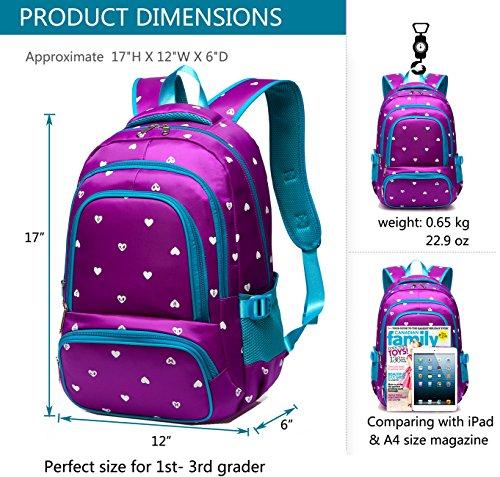 Fashion Girls Backpack for Kids Elementary School Bag Girly Bookbag  Children 17 Inch Nylon Heart Print 8a1fcb576b50f