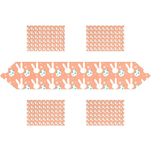 Happy Easter Day Bunny Egg Rectangle Table Runner 13 x 90 in