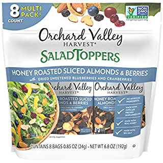 ORCHARD VALLEY HARVEST Salad Toppers, Honey Roasted Sliced Almonds & Berries, 0.85 oz (Pack of 8), Non-GMO, No Artificial Ingredients, 6.8 Ounce