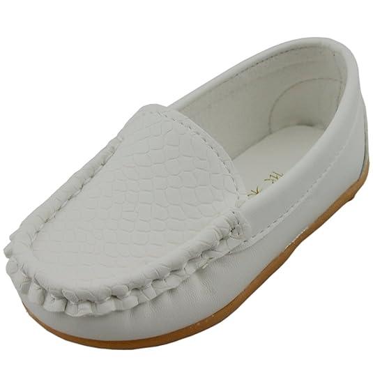 DADAWEN Unisex-Kinder Espadrilles Mocassin Leder Schuhe-Weiß 26 LUZPFrc