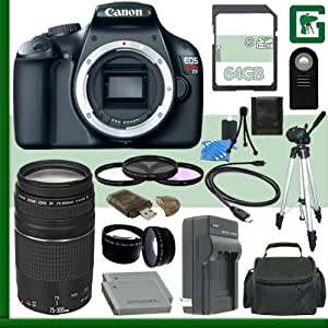 Canon EOS Rebel T3 Digital SLR Camera and Canon EF 75-300mm III Lens + 64GB Green's Camera Package 1