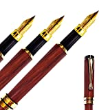 CAPLIN FOUNTAIN PEN - Fine Nib   Handcrafted Wine Rose Gold Edition   Gracious Ink Flow   Ink Refill Converter   Luxury Vintage Pen   Business Work Home   Classic