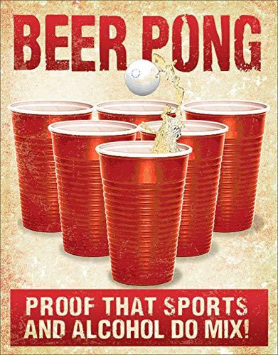 Desperate Enterprises Beer Pong Tin Sign, 12.5