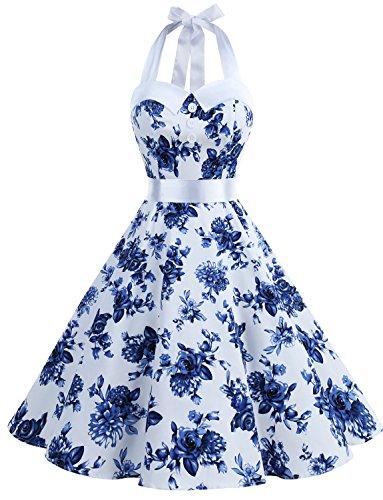 Dressystar Vintage Polka Dot Retro Cocktail Prom Dresses 50's 60's Rockabilly Bandage Blue White L