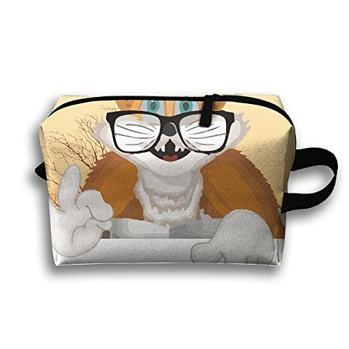 Travel Buggy Bag Toiletry Pouch Toiletry Bag Cats Say OK With Glasses Printing Zipper Clutch Bag Travel - Ok Glasses Frames