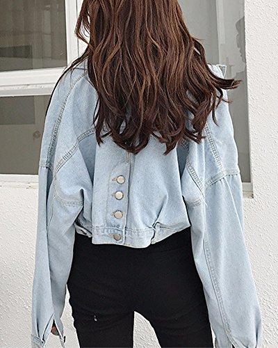 Manica Jeans Giacca Azzurro Di Corto Casual Giubbotto Lunga Chiaro Denim Donna Cropped XqwStB