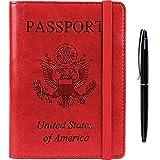 Passport Holder Cover wallet Case-Leather RFID Blocking Travel Document Organizer with Bonus Pen for women men(Red)