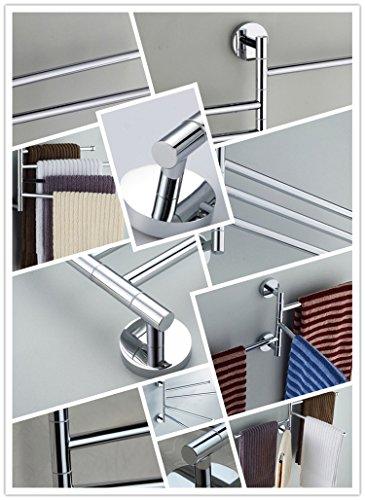 Bekith 16 inch Wall-Mounted Stainless Steel Swivel Bars Bathroom Towel Rack Hanger Holder Organizer (4-Arm)