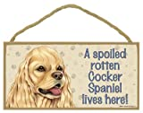 (SJT61927) A spoiled rotten Cocker Spaniel (American, tan color) lives here wood sign plaque 5
