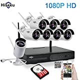 Hiseeu Wireless CCTV System 1080P 8ch Powerful Wireless 1080P NVR 3TB HDD Pre-install, 8PCS 2.0 Megapixel Wireless Weatherproof Bullet IP Cameras 1080P,Plug and Play,P2P,App,Home Security System