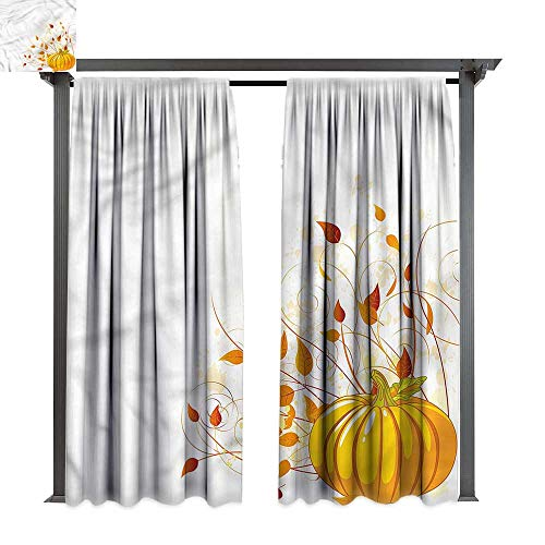 Outdoor Curtain Pumpkin Colorful Autumn Foliage for Lawn & Garden, Water & Wind Proof W108 xL84 -