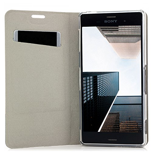 Funda Sony Xperia XZ [zanasta Designs] Cubierta Carcasa Flip Case Tapa Delantera con Billetera para Tarjetas Protectora de Alta Calidad, Cierre Abatible Gris Negro
