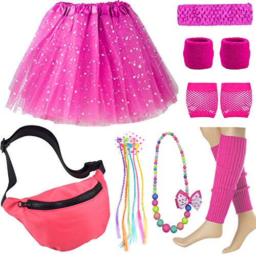 Kid 80s Waist Fanny Pack Neon Running Wristbands Leg Warmers Accessories Set (One Size, Hot Pink) ()