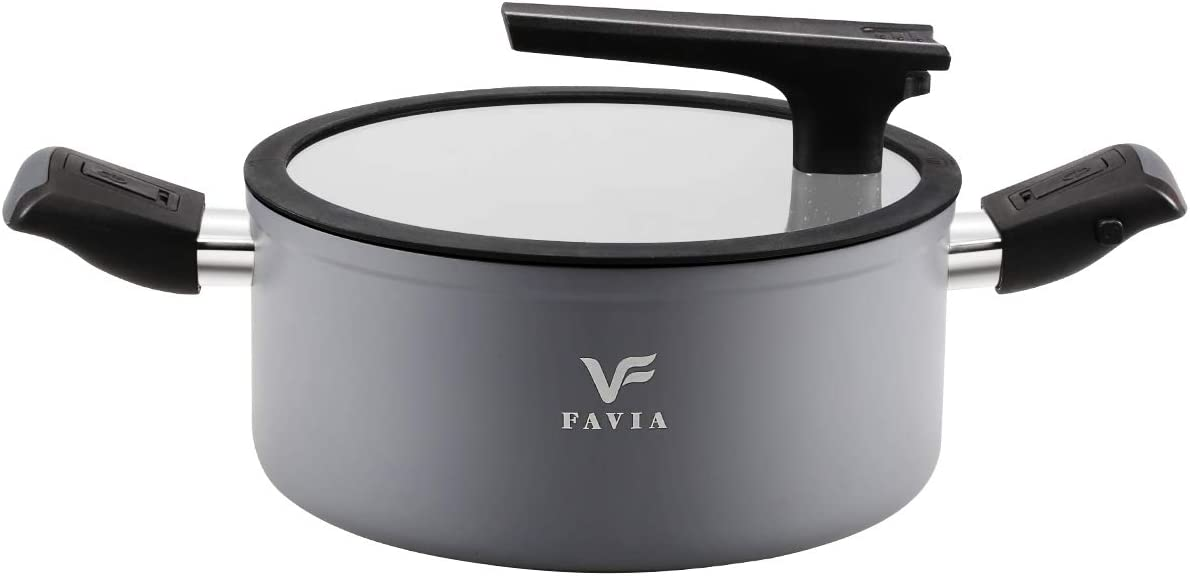 FAVIA 5 Quart Premium Stockpot with Lid - Safe Nonstick Coating - Top Quality 9.5 inch Soup Pot Induction Compatible Dishwasher and Oven Safe PFOA PFOS PFAS Free