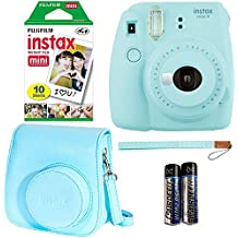 Fujifilm Instax Mini 9 - Ice Blue Instant Camera, 10 Prints Fujifilm instax Instant Mini Film, Fujifilm Instax Groovy Camera Case - Blue