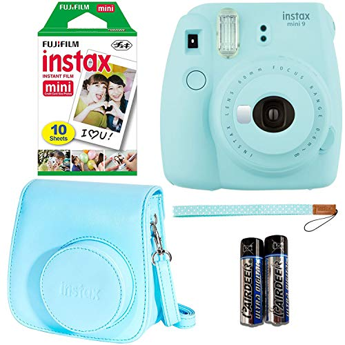 Fujifilm Instax Mini 9 – Ice Blue Instant Camera, 10 Prints Fujifilm instax Instant Mini Film, Fujifilm Instax Groovy Camera Case – Blue