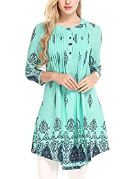 Meaneor Women Casual Round Neck 3/4 Sleeve Floral Loose Hem Fold Tunic Top Shirt
