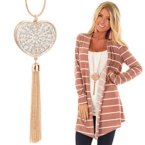 Suyi Long Tassel Necklace Hollow-Out Heart Sweater Chain Y Pendant Necklace for Women Heart-Gold