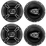 4) Soundstorm SSL EX365 6.5 300W 3-Way Car Coaxial Audio Black Speakers Pair