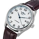 Gute Classic WINNER Mechanical Watch white Dial Blue Hands PU Band Self-wind Men-standard