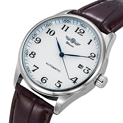 - Gute Classic Winner Mechanical Watch White Dial Blue Hands PU Band Self-Wind Men-Standard