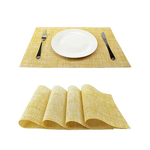 GEFEII PVC Woven Vinyl Non-Slip Heat-Resistant Yellow Placemats Kitchen Environmental Table Place Mats Pad Cushion Yellow placemats(Yellow, 4) - ♫ Dining Table Placemats Material:PVC Woven Vinyl placemats. ♫ High Quality and Exquisite Design:Solid table mats(yellow placemats),simple,but not without luxury,Eco-friendly PVC materials,Non-Slip Heat-resistant placemats,Stain Resistant Placemats. ♫ Dining Table Table Mats Occasion:placemats for dining table,kichen dining table,life quatity of your home,dining hall,kitchen,hotel and business banquet,any party decoration,even as gift for your friends. - placemats, kitchen-dining-room-table-linens, kitchen-dining-room - 51iG7l0BHaL. SS570  -