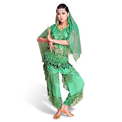 SymbolLife professionell Bauchtanz Kostüm indischen Tanzkleidung Halloween Karneval Darbietungen Tanzkostüme,Das Obere + Pluderhosen + Bauchkette + Kopftuch + Schleier + Halskette + Armbänder Grün