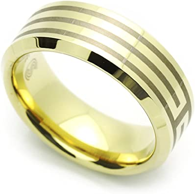Men 8MM Comfort Fit Tungsten Carbide Wedding Band Zirconium Plated Lined Ring