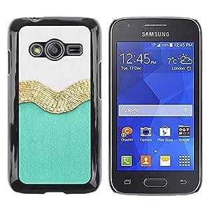 FECELL CITY // Duro Aluminio Pegatina PC Caso decorativo Funda Carcasa de Protección para Samsung Galaxy Ace 4 G313 SM-G313F // Gold White Fashion Shiny Fashion