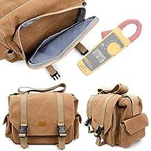 Tan Brown Large Canvas Bag for Fluke 323 True-rms Clamp Meter, Fluke 324 and Fluke 325 -by DURAGADGET
