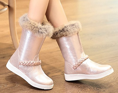 Flats Calf Round Women's On Gold Rose Aisun Mid Slip Toe Sole Booties Warm Shoes Thick Boots Cute Snow Platform t8pUn7pqW