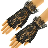 LADIES BLACK FINGERLESS LACE GLOVES HALLOWEEN PARTY ACCESSORY FANCY DRESS WITCH GLOVE