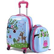 COSTWAY 2tlg Kinderkoffer + Rucksack, Kindertrolley aus Kunststoff, Kindergepäck, Kinder Kofferset Handgepäck…