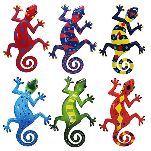 Juegoal 6 Pack Metal Gecko Wall Art Decor Inspirational Sculpture Hang Indoor Outdoor for Home Bedroom Living Room Office Garden, 9 Inches from Juegoal