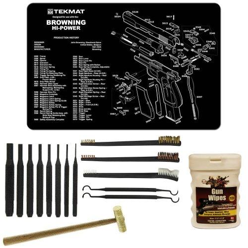 Ultimate Arms Gear Gunsmith & Armorer's Cleaning Work Bench Gun Mat Browning Hi-Power Pistol Handgun + 8 pc Steel Pin Punch Center Disassembly Tool Set Kit Sizes: 1/16, 3/32, 1/8, 5/32, 3/16, 7/32, 1/4 + 8