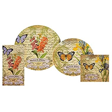Butterfly Paper Plates And Napkins - Party Supplies For 16 Guests - Bundle of 4 Pks