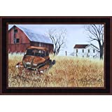 Grandad's Old Truck by Billy Jacobs 15x21 Barn Farm House Rusty Vehicle Primitive Folk Art Print Country Framed Picture