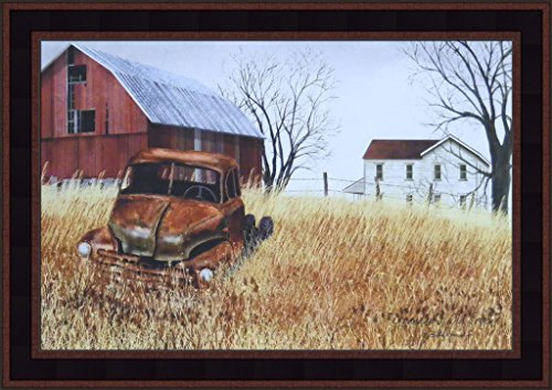 Primitive Framed Art (Grandad's Old Truck by Billy Jacobs 15x21 Barn Farm House Rusty Vehicle Primitive Folk Art Print Country Framed Picture)