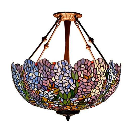 - Tiffany Style Anti-chandelier,22-inch Blue Wisteria Glass Pendant Lamp,110V-220V E27 Pendant Lights