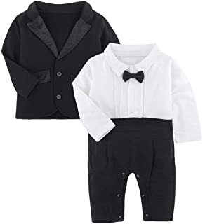 The Lil Gentlemans Tuxedo Romper in Black from Chunks of Charm