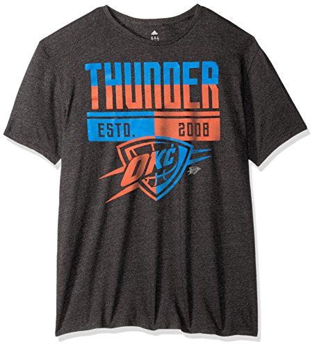 fan products of NBA Oklahoma City Thunder Men's Sharp Split Tri-Blend Short Sleeve Tee, Black, XX-Large