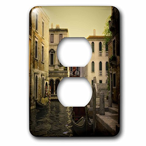 Canal Set - 3dRose Boehm Graphics Travel - Gondolas in the Canals of Venice Near Sunset - Light Switch Covers - 2 plug outlet cover (lsp_282405_6)